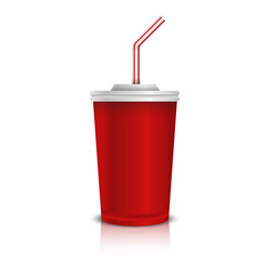 Red disposable cup for beverages with straw.