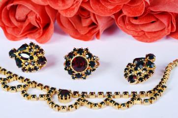 czech garnets jewelry set