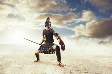 Ancient Greek warrior Achilles in combat on epic background