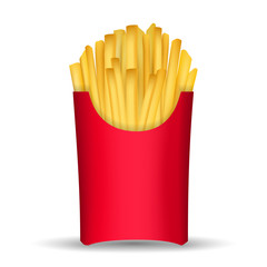 Fast junk food french fries in paper pack isolated