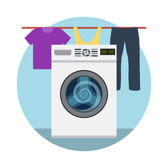 Washing machine icon and laundry designed elements.