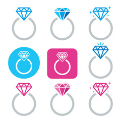 Diamond engagement ring vector icon - Valentine's Day