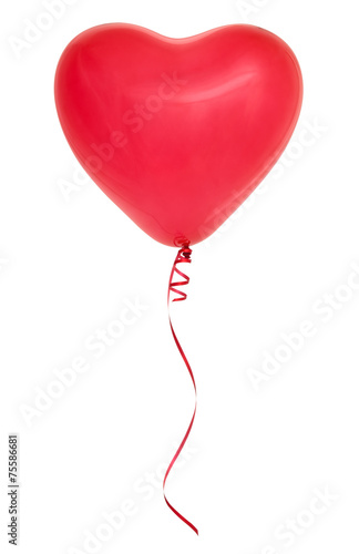Red heart shaped balloon. - 75586681