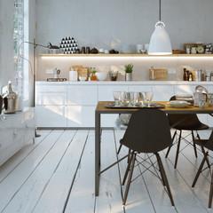 Weiße Küche in Altbau Wohnung -  modern white Kitchen