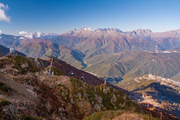 beautiful Western Caucasus mountains in autumn