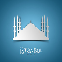 Istanbul, Turkey. Blue greeting card.