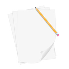 Vector Realistic Notepaper With Pencil