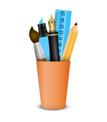 Vector icon of the brush, pencil.