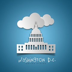 Washington D.C. United States. Blue greeting card.
