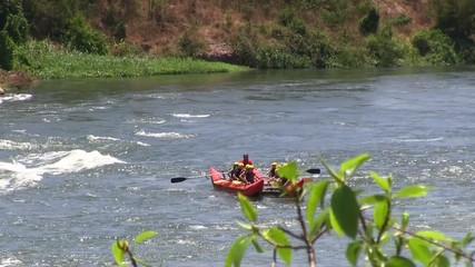 Rafting in rough waters the White Nile, Uganda