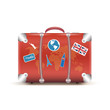 Vector illustration of vintage suitcase with funky stickers