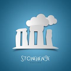 Stonehenge, England. Blue greeting card.