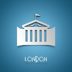 London, United Kingdom. Blue greeting card.