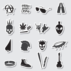 various black punk stickers set eps10