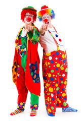clowns zeigen mit dem finger