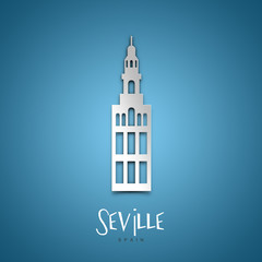 Seville, Spain. Blue greeting card.