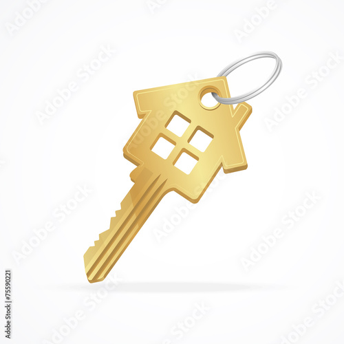House key isolated on white - 75590221