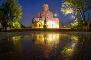 night view of the big Buddhist statue in changhua