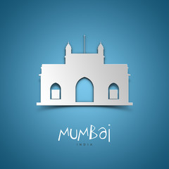 Mumbai, India. Blue greeting card.