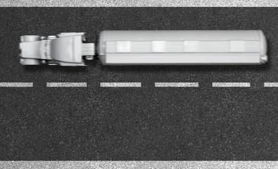 Truck/LKW auf Autobahn - Vogelperspektive mit Textfreiraum