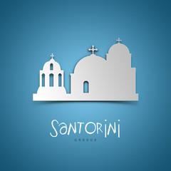 Santorini, Greece. Blue greeting card.