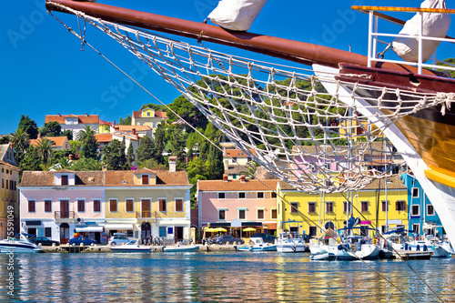 Leinwanddruck Bild Colorful waterfront of Island Losinj