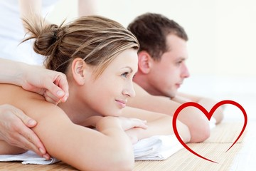 Attractive young couple having an acupunctre