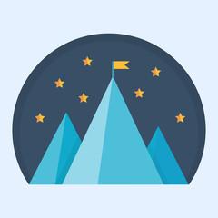 Blue mountain peak with flag