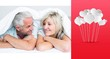 Composite image of closeup of a mature couple lying in bed
