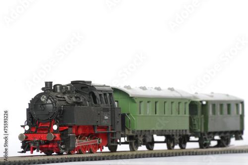 Leinwanddruck Bild electric train toy objects miniature