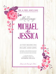 Printable vintage marriage invitation.