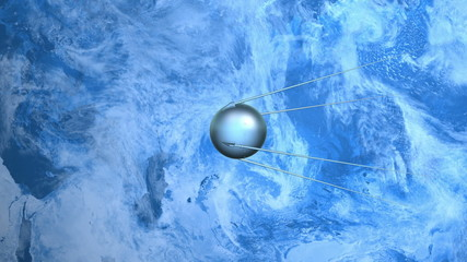 Sputnik flies over the surface of the planet Earth