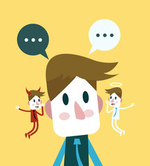 Evil and angel giving ideas. flat character. vector illustration
