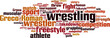 Wrestling word cloud concept. Vector illustration - 75594847