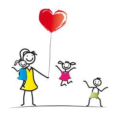 Frau mit fröhlichen Kindern