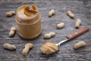 Peanut cream in a jar. Dietary foods for the heart.