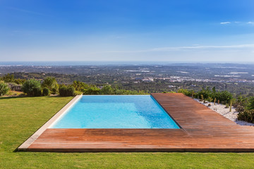 Luxury pool on a background of beautiful scenery. Sea View.