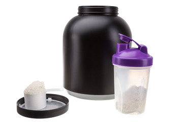 Gaining muscle mass. Protein and shaker for fitness