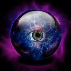 Crystal Ball with all seeing eye