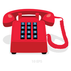 Red stationary phone with button keypad