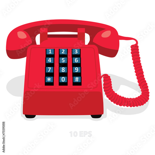 Red stationary phone with button keypad - 75595818