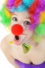 Clown schaut erstaunt