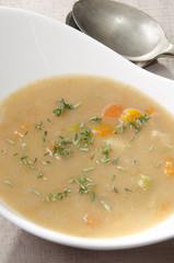 scotch broth soup with fresh thyme