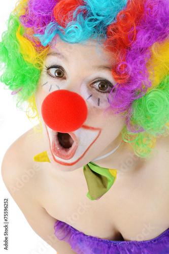 Leinwandbild Motiv Clown schaut erstaunt