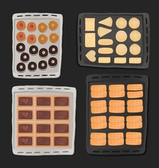Cookies in tray, icon set.