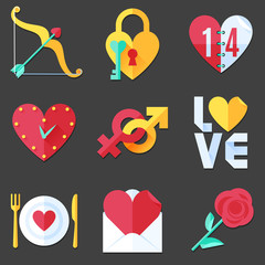 Flat Love Icons