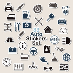 Set of auto icon stickers