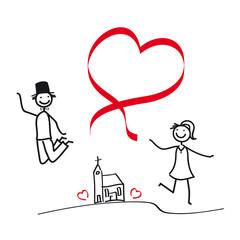 Brautpaar - Paar mit Herz - Luftsprung