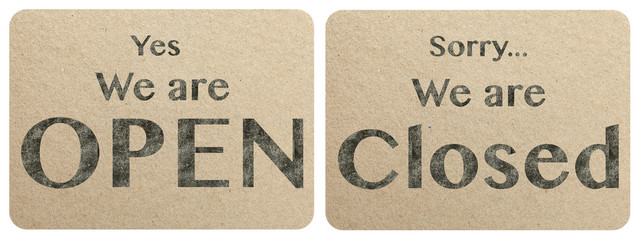 Open and closed chalk text on paper texture