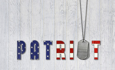 military dog tags and flag font for patriot